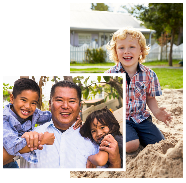 Photo of father with young children over photo of young boy playing outside